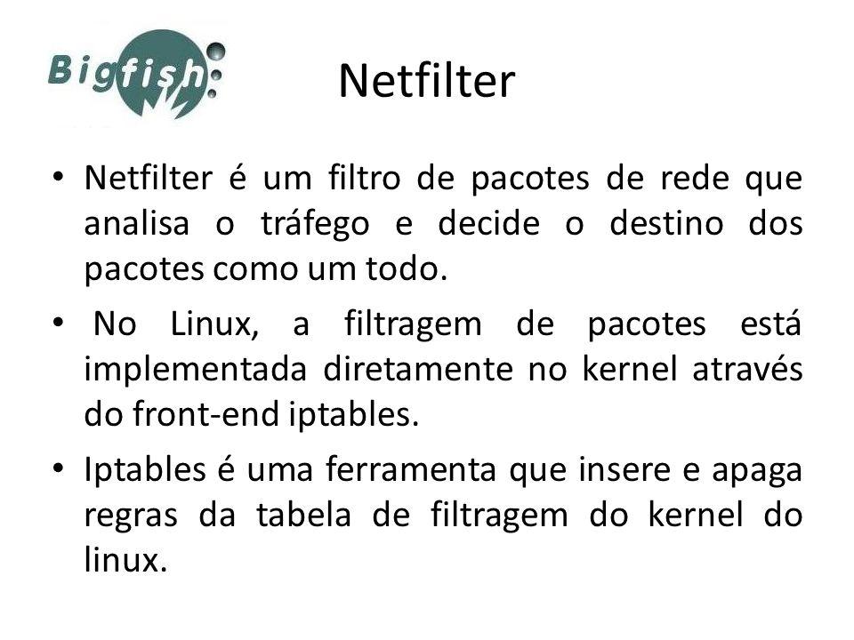 Netfilter Netfilter é um filtro de pacotes de rede que analisa o tráfego e decide o destino dos pacotes como um todo. No Linux, a filtragem de pacotes