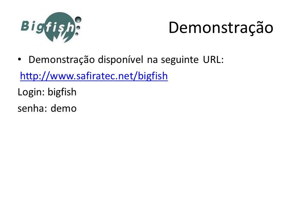 Demonstração disponível na seguinte URL: http://www.safiratec.net/bigfish Login: bigfish senha: demo Demonstração