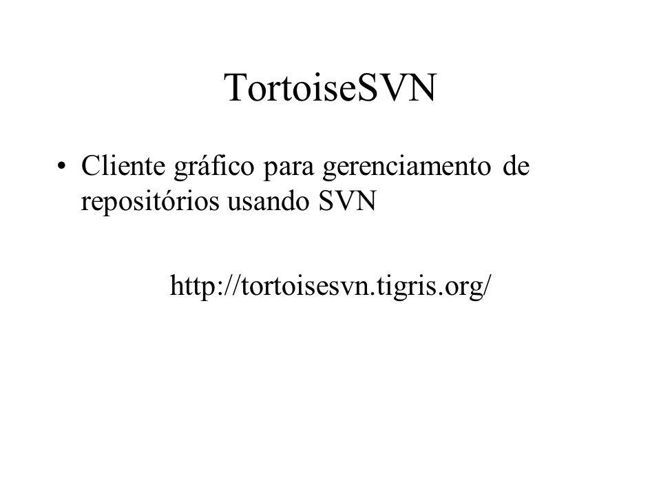 TortoiseSVN Cliente gráfico para gerenciamento de repositórios usando SVN http://tortoisesvn.tigris.org/