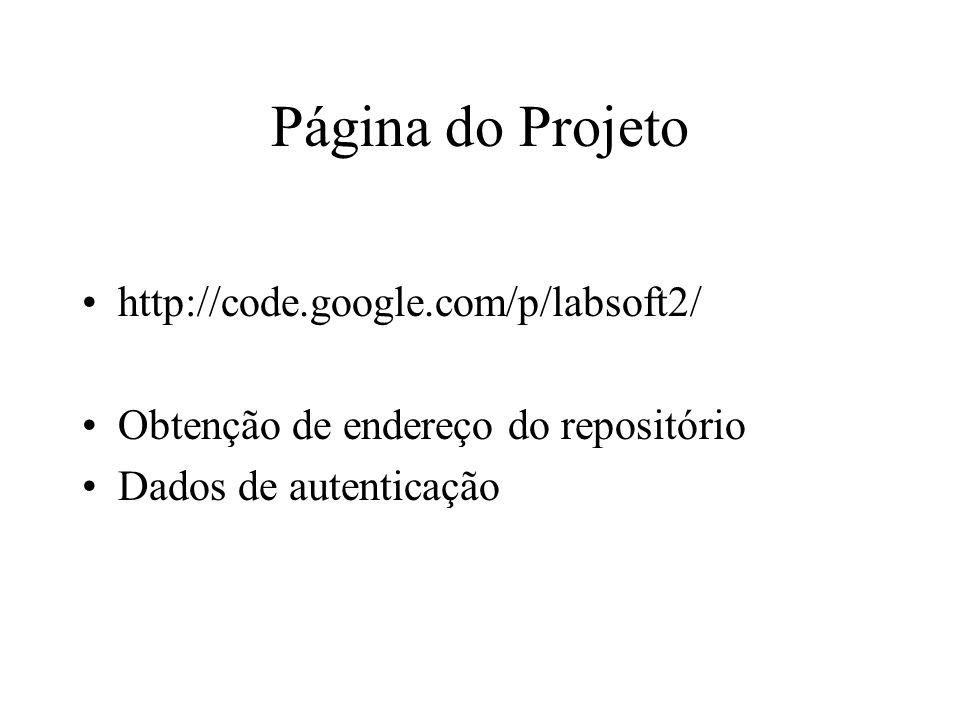 Etapas de Configuração Criar um diretório local para colocar o código do projeto Realizar checkout do projeto https://labsoft2.googlecode.com/svn/trunk/ Login: seu e-mail do gmail –Sem @gmail.com Senha: obtida pela página do google code