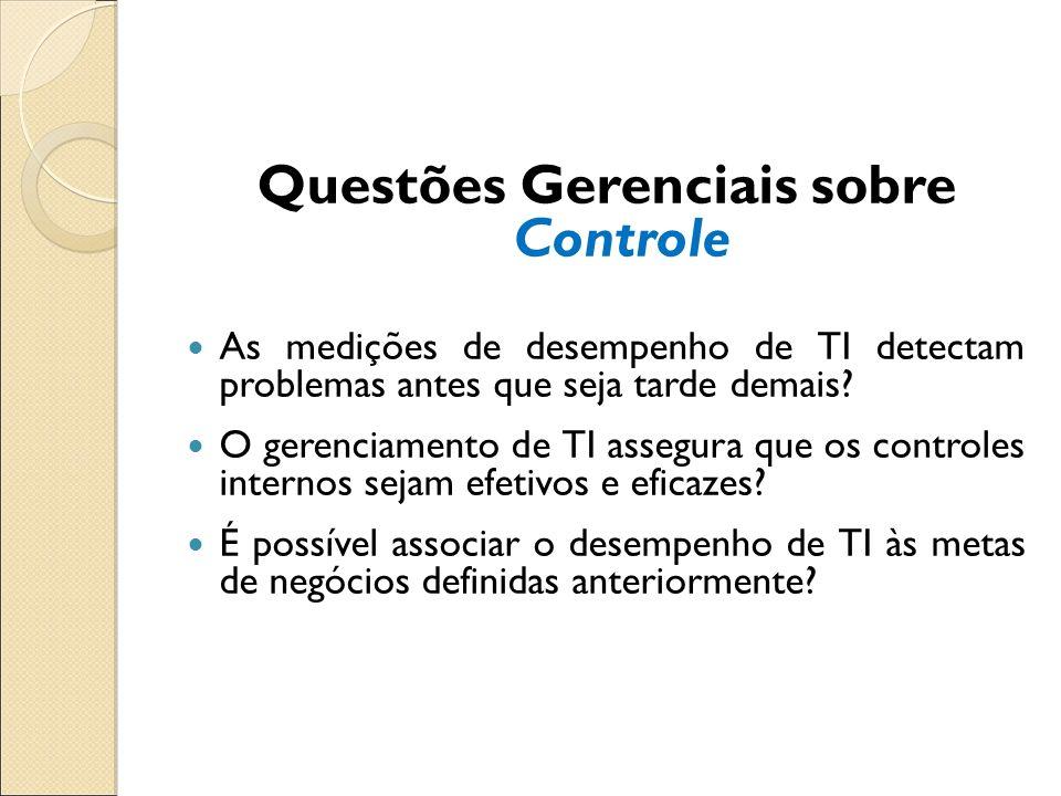 Questões Gerenciais sobre Controle As medições de desempenho de TI detectam problemas antes que seja tarde demais? O gerenciamento de TI assegura que