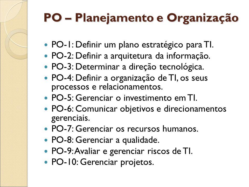 PO – Planejamento e Organização PO-1: Definir um plano estratégico para TI. PO-2: Definir a arquitetura da informação. PO-3: Determinar a direção tecn