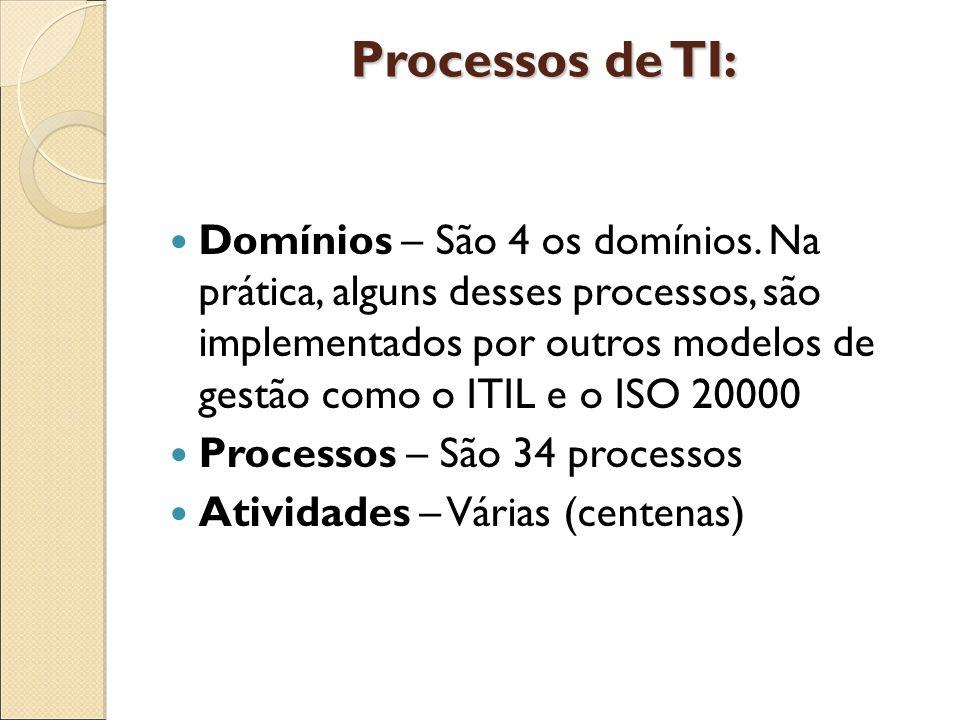 Processos de TI: Domínios – São 4 os domínios. Na prática, alguns desses processos, são implementados por outros modelos de gestão como o ITIL e o ISO