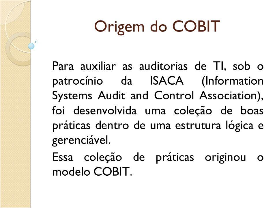 Origem do COBIT Para auxiliar as auditorias de TI, sob o patrocínio da ISACA (Information Systems Audit and Control Association), foi desenvolvida uma