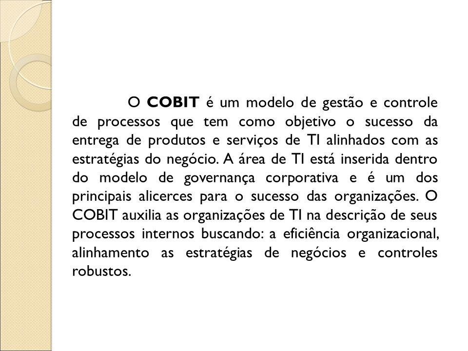 O COBIT é um modelo de gestão e controle de processos que tem como objetivo o sucesso da entrega de produtos e serviços de TI alinhados com as estraté