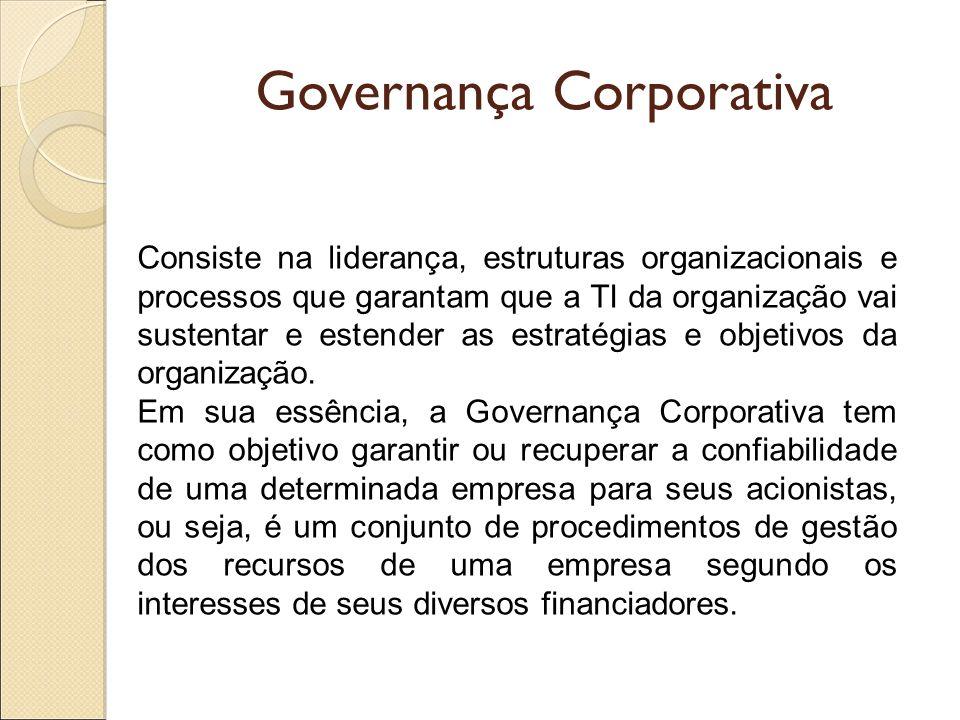 Governança Corporativa Consiste na liderança, estruturas organizacionais e processos que garantam que a TI da organização vai sustentar e estender as