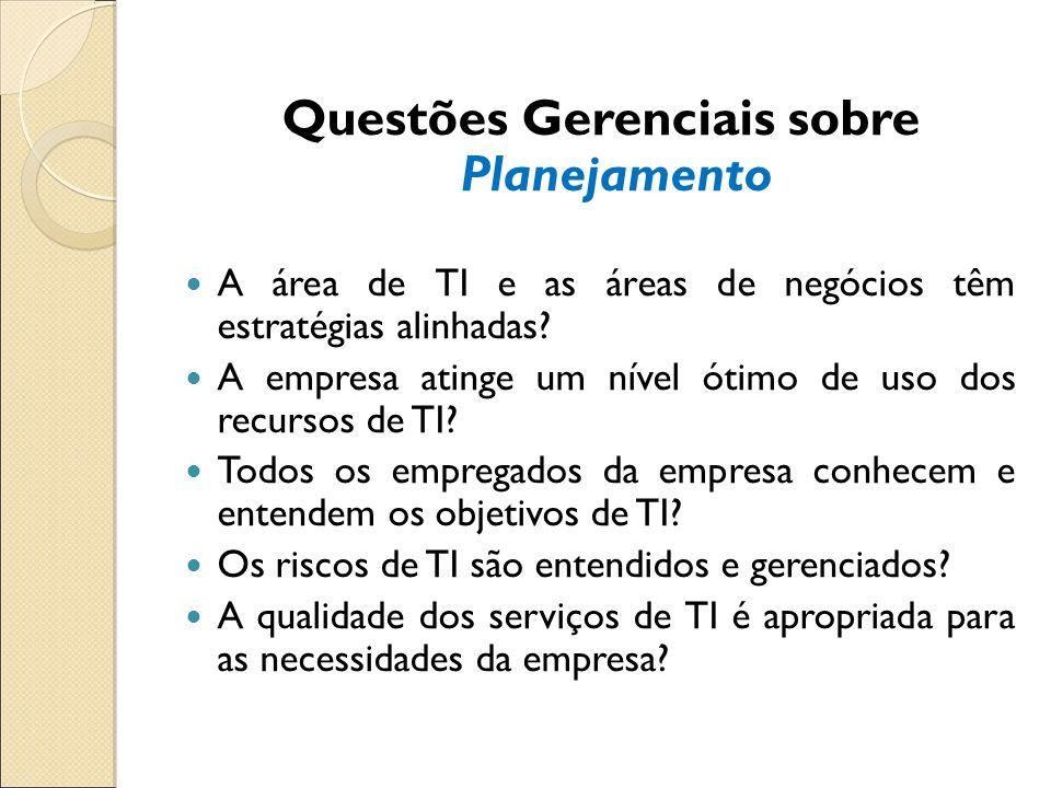 Questões Gerenciais sobre Planejamento A área de TI e as áreas de negócios têm estratégias alinhadas? A empresa atinge um nível ótimo de uso dos recur