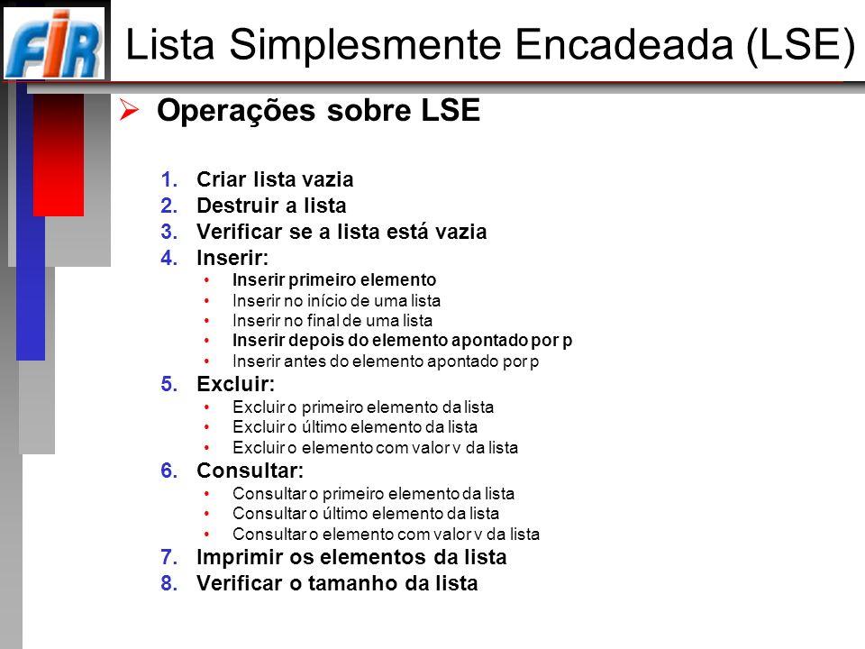 Operações sobre LSE 1.Criar lista vazia 2.Destruir a lista 3.Verificar se a lista está vazia 4.Inserir: Inserir primeiro elemento Inserir no início de
