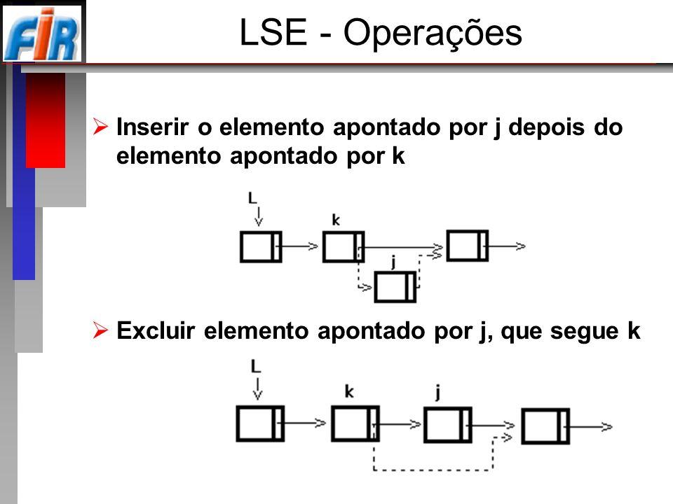 Inserir o elemento apontado por j depois do elemento apontado por k Excluir elemento apontado por j, que segue k LSE - Operações