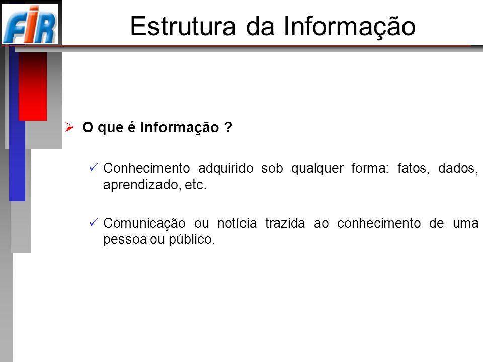 Estrutura da Informação O que é Informação ? Conhecimento adquirido sob qualquer forma: fatos, dados, aprendizado, etc. Comunicação ou notícia trazida