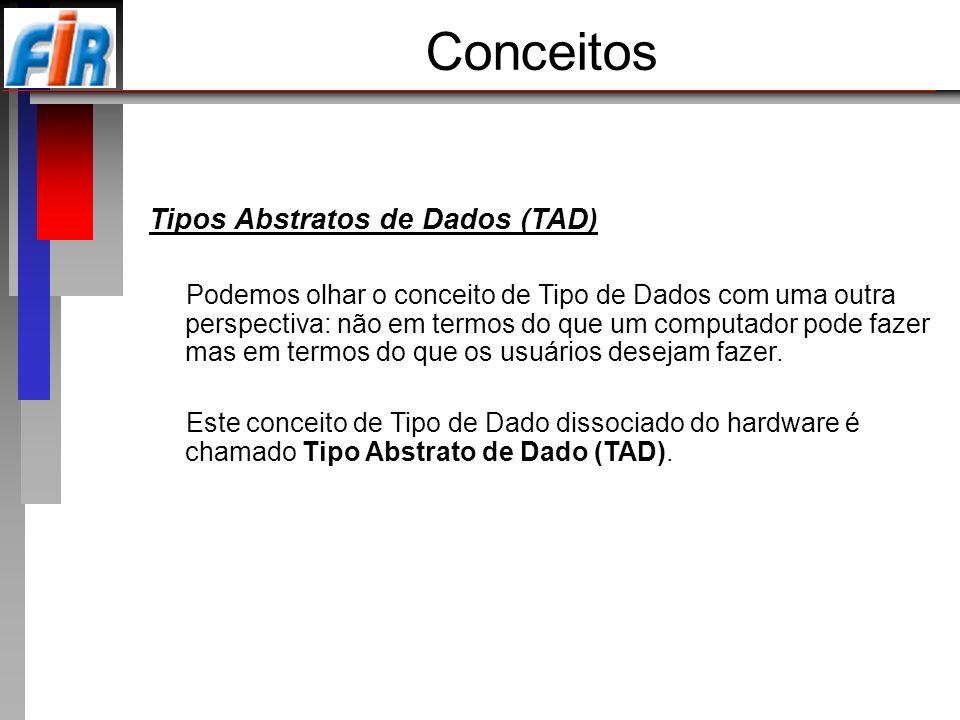 Estruturas de Dados (ED) Definem a forma utilizada para representar um Tipo Abstrato de Dado.