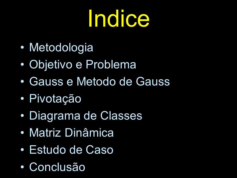 Indice Metodologia Objetivo e Problema Gauss e Metodo de Gauss Pivotação Diagrama de Classes Matriz Dinâmica Estudo de Caso Conclusão