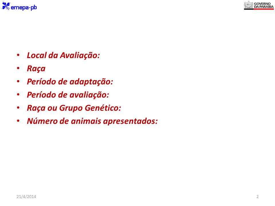 Local da Avaliação: Raça Período de adaptação: Período de avaliação: Raça ou Grupo Genético: Número de animais apresentados: 21/4/20142