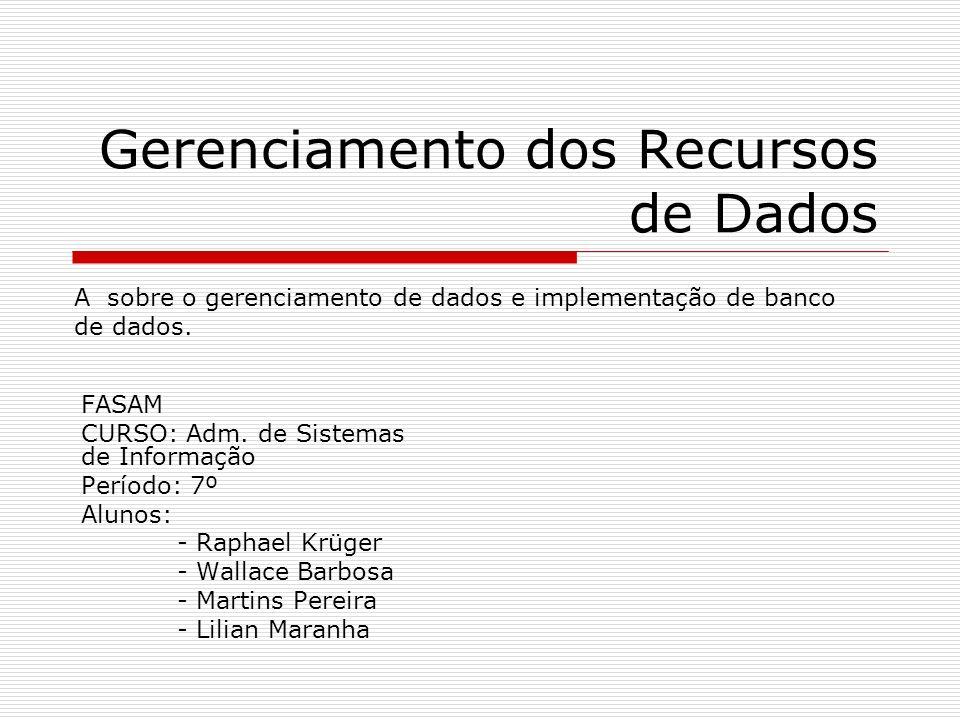 Gerenciamento dos Recursos de Dados FASAM CURSO: Adm. de Sistemas de Informação Período: 7º Alunos: - Raphael Krüger - Wallace Barbosa - Martins Perei