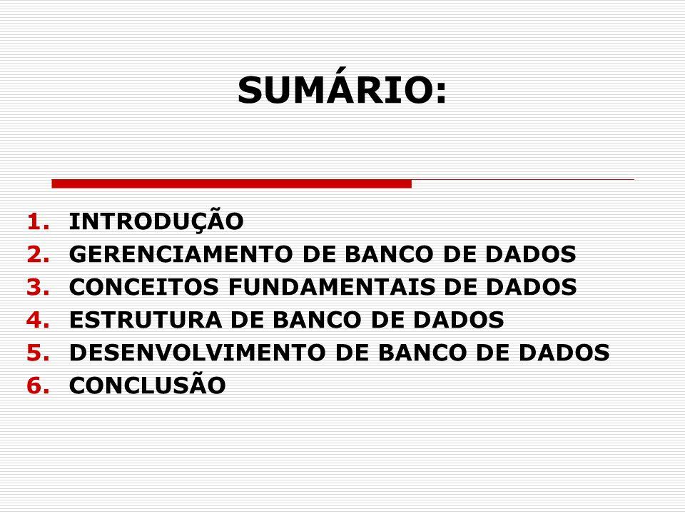 SUMÁRIO: 1.INTRODUÇÃO 2.GERENCIAMENTO DE BANCO DE DADOS 3.CONCEITOS FUNDAMENTAIS DE DADOS 4.ESTRUTURA DE BANCO DE DADOS 5.DESENVOLVIMENTO DE BANCO DE