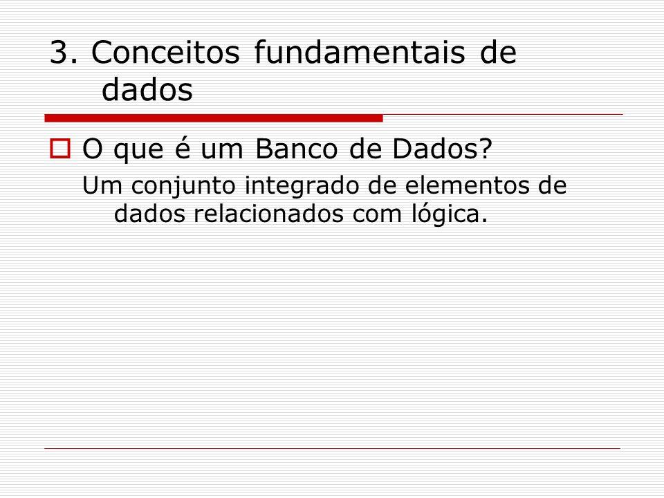 3. Conceitos fundamentais de dados O que é um Banco de Dados? Um conjunto integrado de elementos de dados relacionados com lógica.