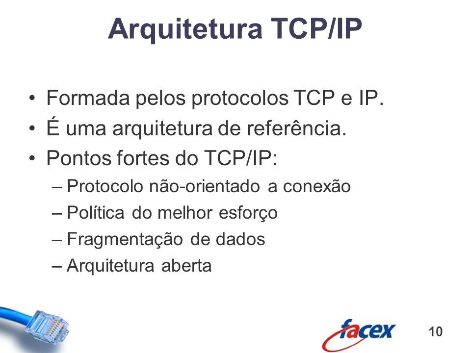 Formada pelos protocolos TCP e IP. É uma arquitetura de referência. Pontos fortes do TCP/IP: –Protocolo não-orientado a conexão –Política do melhor es