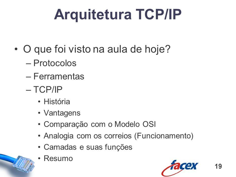 O que foi visto na aula de hoje? –Protocolos –Ferramentas –TCP/IP História Vantagens Comparação com o Modelo OSI Analogia com os correios (Funcionamen