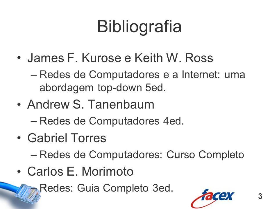 Bibliografia James F. Kurose e Keith W. Ross –Redes de Computadores e a Internet: uma abordagem top-down 5ed. Andrew S. Tanenbaum –Redes de Computador