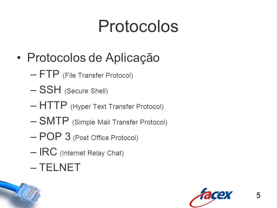 Protocolos Protocolos de Aplicação –FTP (File Transfer Protocol) –SSH (Secure Shell) –HTTP (Hyper Text Transfer Protocol) –SMTP (Simple Mail Transfer