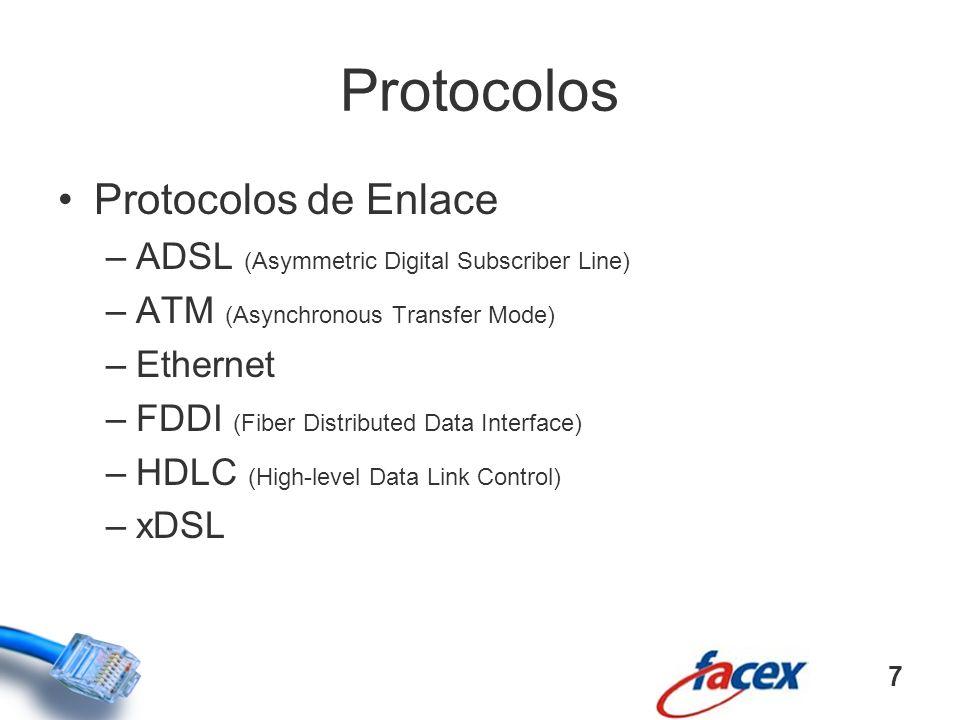 Protocolos Protocolos de Enlace –ADSL (Asymmetric Digital Subscriber Line) –ATM (Asynchronous Transfer Mode) –Ethernet –FDDI (Fiber Distributed Data I