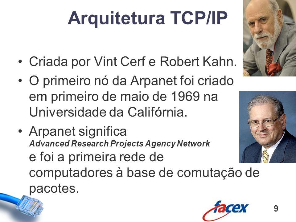 Criada por Vint Cerf e Robert Kahn. O primeiro nó da Arpanet foi criado em primeiro de maio de 1969 na Universidade da Califórnia. Arpanet significa A