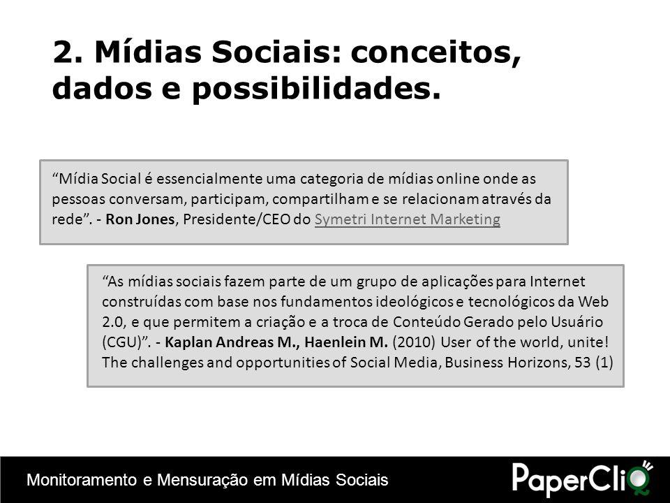 Monitoramento e Mensuração em Mídias Sociais 2. Mídias Sociais: conceitos, dados e possibilidades. Mídia Social é essencialmente uma categoria de mídi