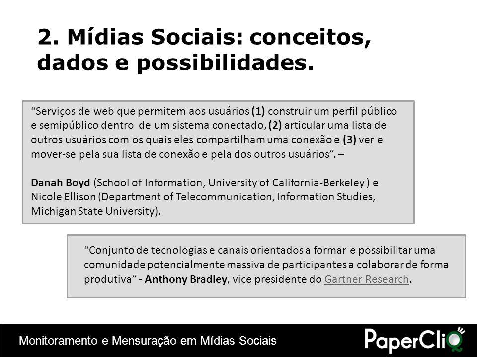 Monitoramento e Mensuração em Mídias Sociais 2. Mídias Sociais: conceitos, dados e possibilidades. Serviços de web que permitem aos usuários (1) const