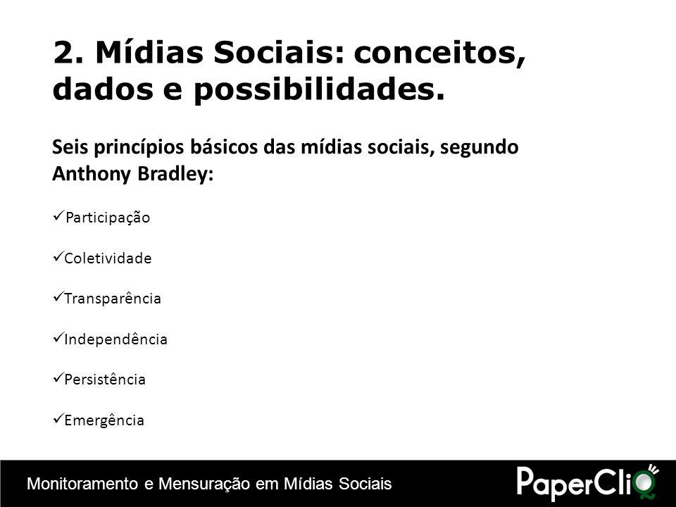 2. Mídias Sociais: conceitos, dados e possibilidades. Seis princípios básicos das mídias sociais, segundo Anthony Bradley: Participação Coletividade T