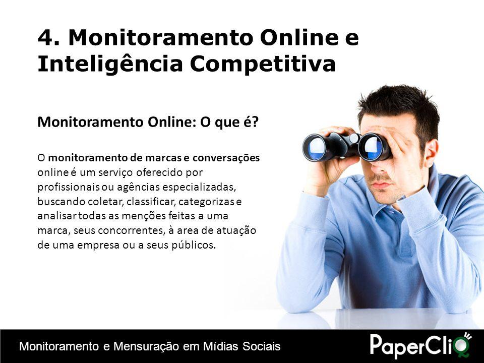 Monitoramento e Mensuração em Mídias Sociais 4. Monitoramento Online e Inteligência Competitiva Monitoramento Online: O que é? O monitoramento de marc