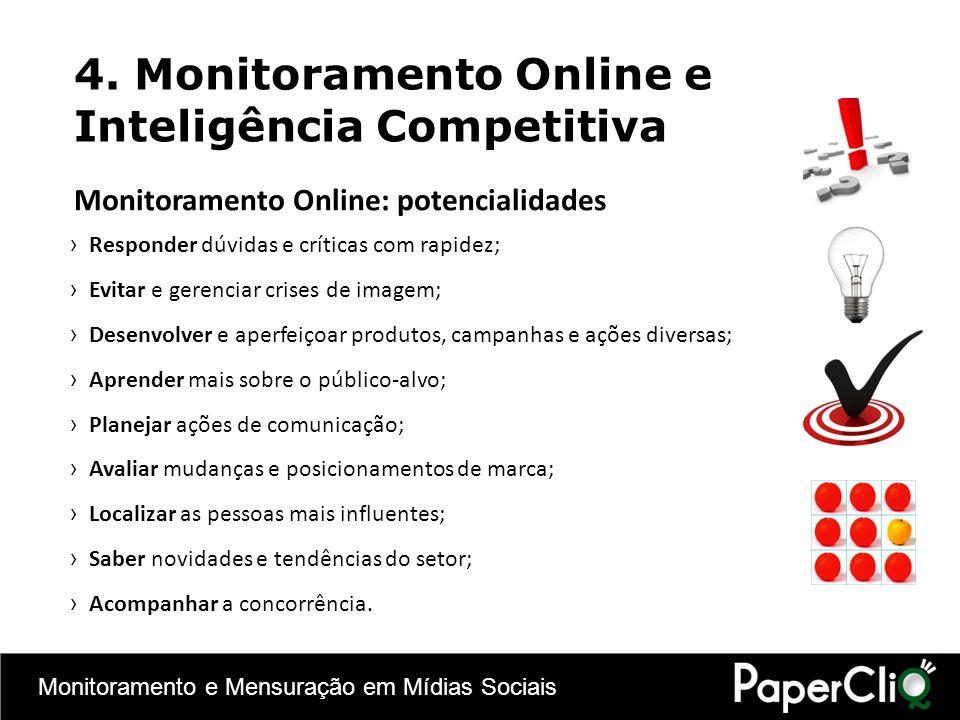 Monitoramento e Mensuração em Mídias Sociais 4. Monitoramento Online e Inteligência Competitiva Monitoramento Online: potencialidades Responder dúvida