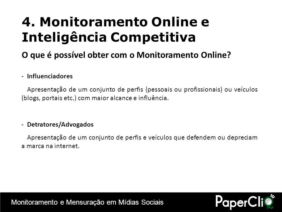 Monitoramento e Mensuração em Mídias Sociais -Influenciadores Apresentação de um conjunto de perfis (pessoais ou profissionais) ou veículos (blogs, po