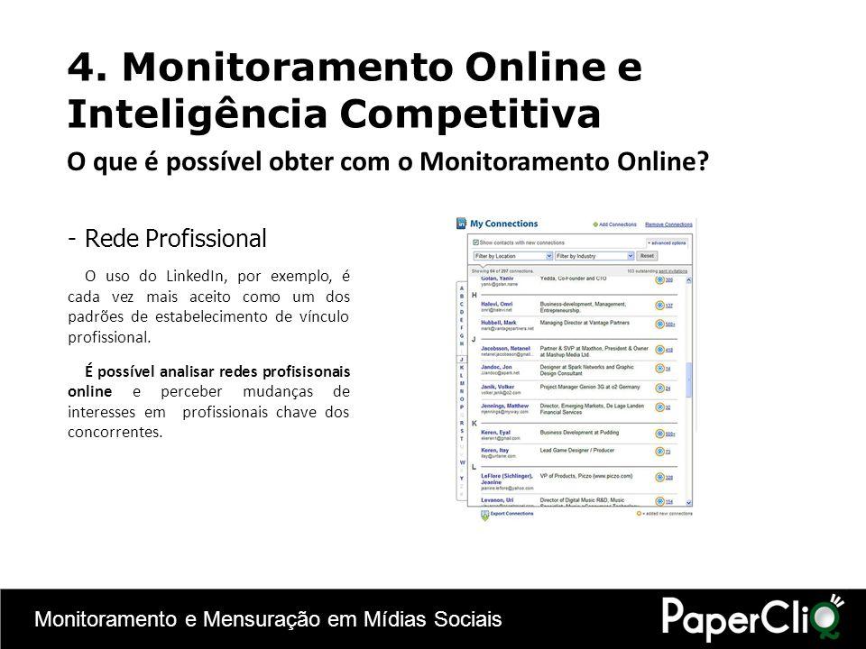 Monitoramento e Mensuração em Mídias Sociais -Rede Profissional O uso do LinkedIn, por exemplo, é cada vez mais aceito como um dos padrões de estabele