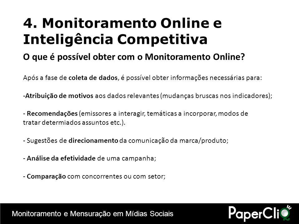 Monitoramento e Mensuração em Mídias Sociais 4. Monitoramento Online e Inteligência Competitiva Após a fase de coleta de dados, é possível obter infor
