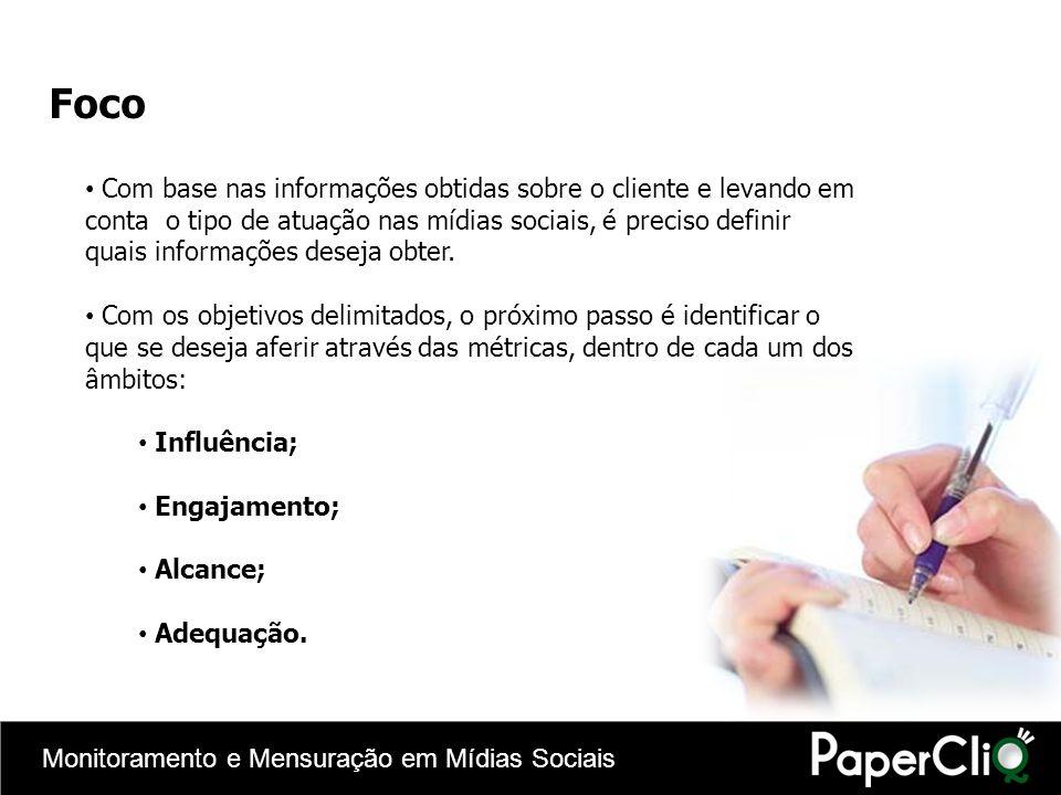 Monitoramento e Mensuração em Mídias Sociais Foco Com base nas informações obtidas sobre o cliente e levando em conta o tipo de atuação nas mídias soc