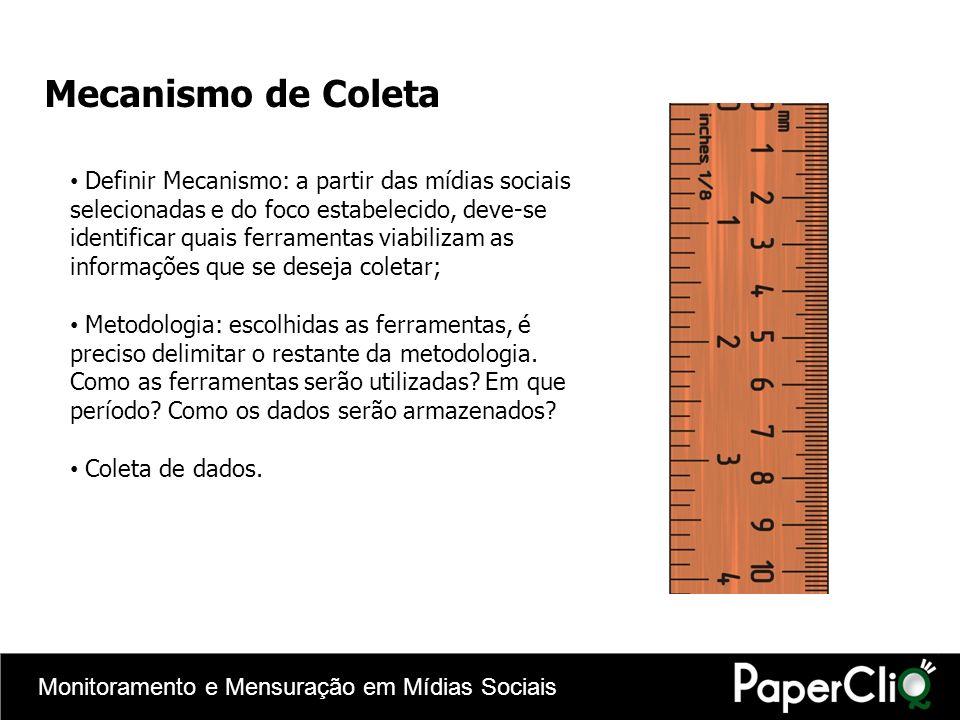 Monitoramento e Mensuração em Mídias Sociais Mecanismo de Coleta Definir Mecanismo: a partir das mídias sociais selecionadas e do foco estabelecido, d