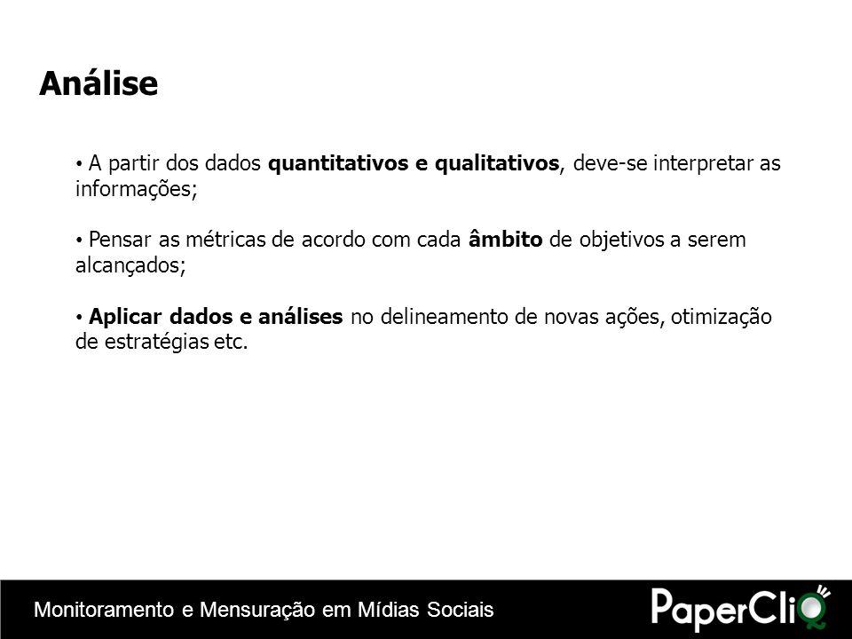Monitoramento e Mensuração em Mídias Sociais Análise A partir dos dados quantitativos e qualitativos, deve-se interpretar as informações; Pensar as mé