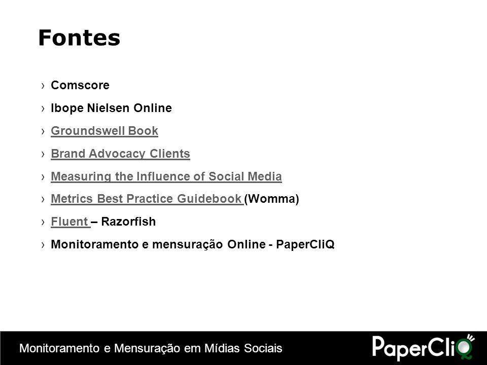 Monitoramento e Mensuração em Mídias Sociais Comscore Ibope Nielsen Online Groundswell Book Brand Advocacy Clients Measuring the Influence of Social M