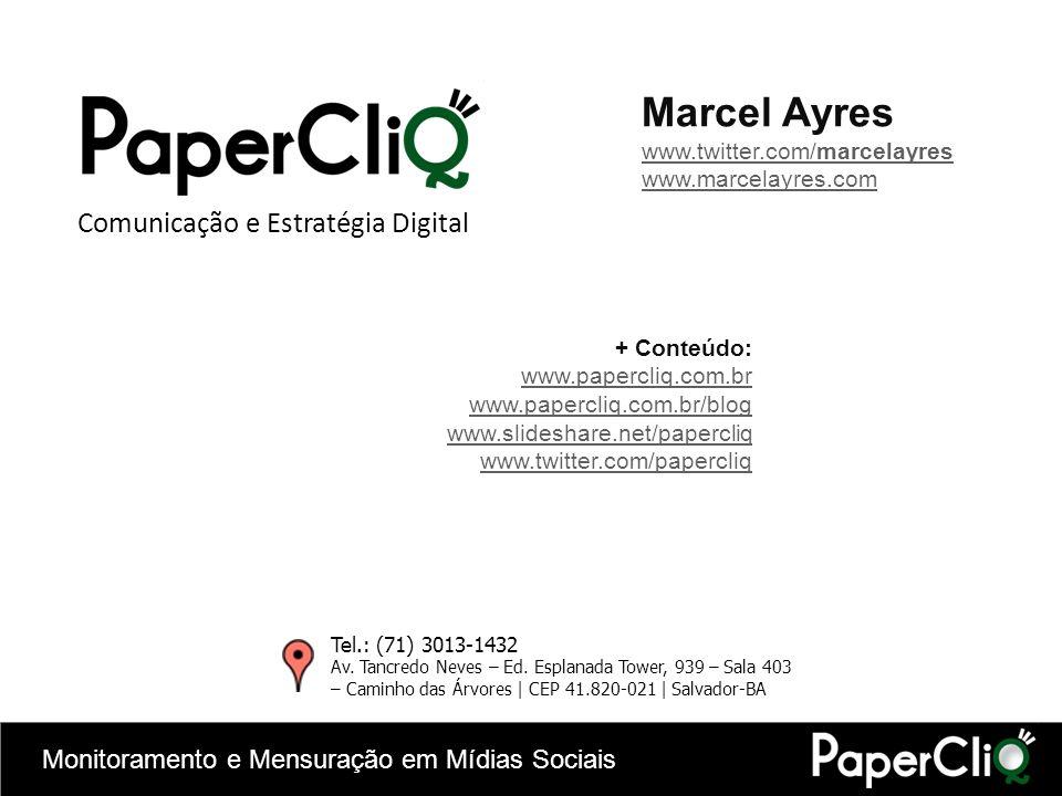 Monitoramento e Mensuração em Mídias Sociais + Conteúdo: www.papercliq.com.br www.papercliq.com.br/blog www.slideshare.net/papercliq www.twitter.com/p