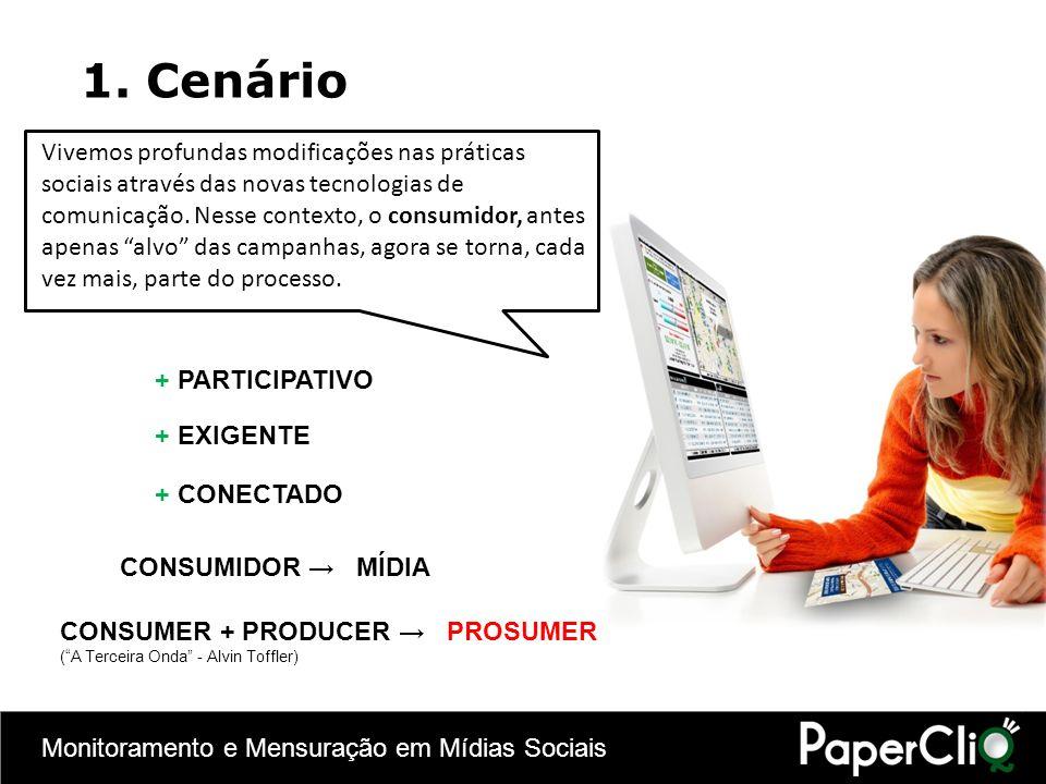 Monitoramento e Mensuração em Mídias Sociais Mídias Sociais e o e-commerce no Brasil: 55% dos consumidores que fizeram uma compra pela internet proveniente de uma rede social são mulheres; Compradores provenientes de redes sociais são, em média, sete anos mais jovens que os compradores do mercado 65% destes compradores provenientes de redes sociais são light users (freqüência baixa de compra pela internet) contra 35% de heavy users (freqüência alta) 70% das empresas no Brasil já estão no mercado de mídias sociais (Dados de agosto de 2010, segundo pesquisa realizada pelo WebShoppers)WebShoppers 2.