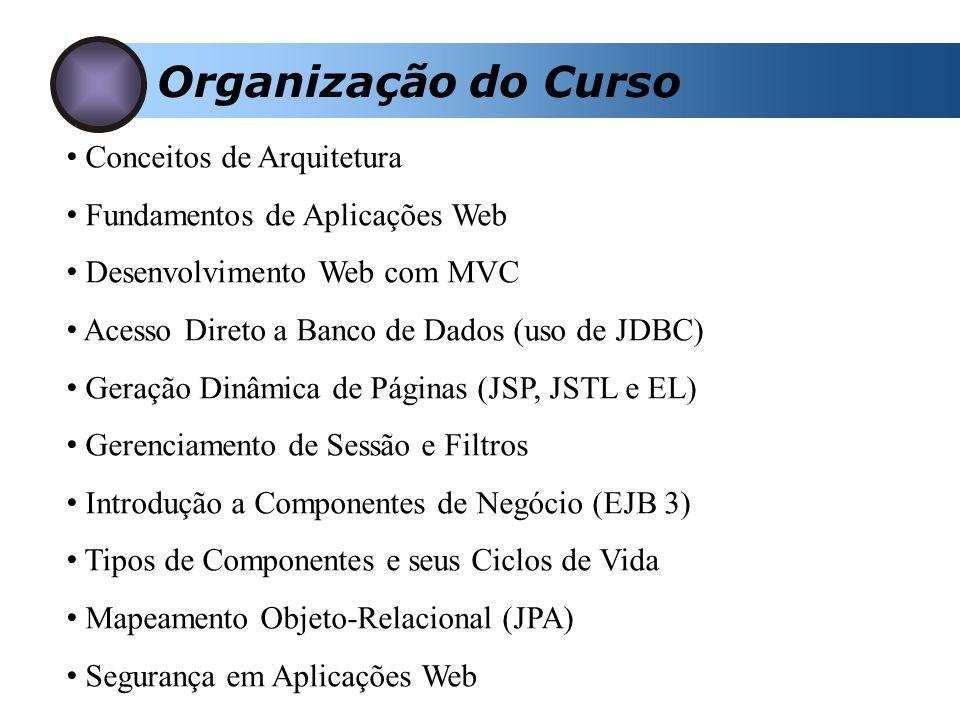 Organização do Curso Conceitos de Arquitetura Fundamentos de Aplicações Web Desenvolvimento Web com MVC Acesso Direto a Banco de Dados (uso de JDBC) Geração Dinâmica de Páginas (JSP, JSTL e EL) Gerenciamento de Sessão e Filtros Introdução a Componentes de Negócio (EJB 3) Tipos de Componentes e seus Ciclos de Vida Mapeamento Objeto-Relacional (JPA) Segurança em Aplicações Web