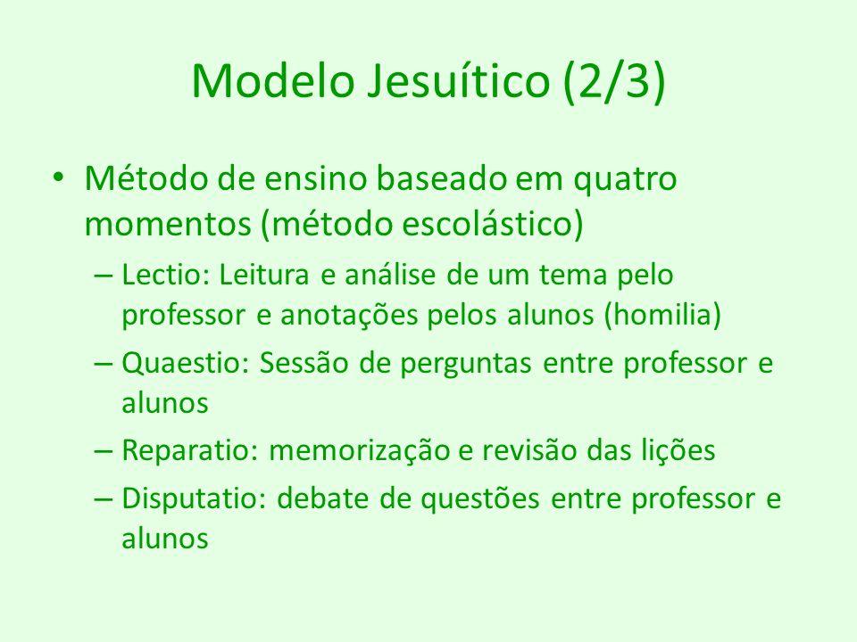 Modelo Jesuítico (3/3) Professor: detentor do conhecimento e dedicação total aos alunos – Salvar as almas para Deus Aluno: passivo e obediente Derivou o modus parisiense – Eficácia – Aprendizado gradual – Programa de estudos estruturado