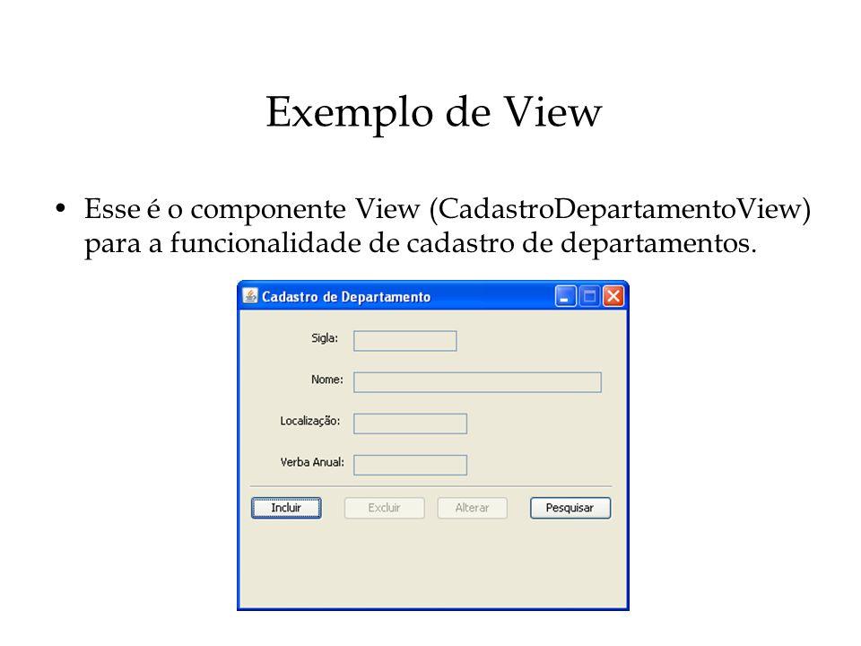 Exemplo de View Esse é o componente View (CadastroDepartamentoView) para a funcionalidade de cadastro de departamentos.
