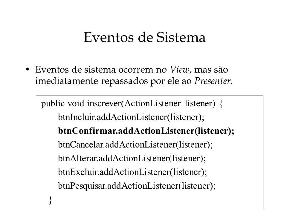 Eventos de Sistema Eventos de sistema ocorrem no View, mas são imediatamente repassados por ele ao Presenter. public void inscrever(ActionListener lis