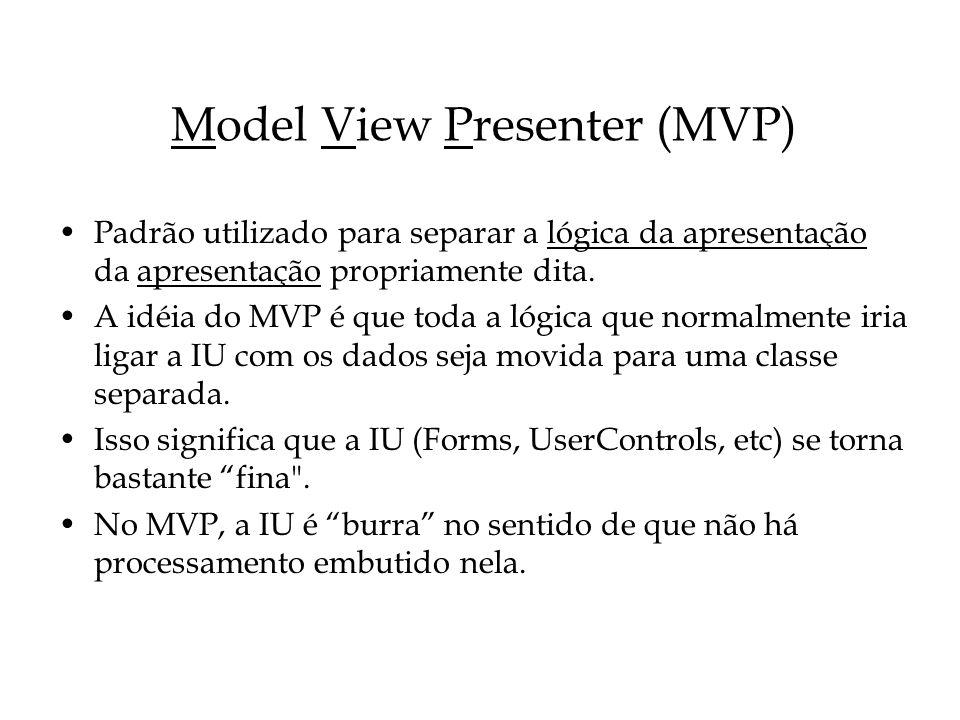 Model View Presenter (MVP) Padrão utilizado para separar a lógica da apresentação da apresentação propriamente dita. A idéia do MVP é que toda a lógic