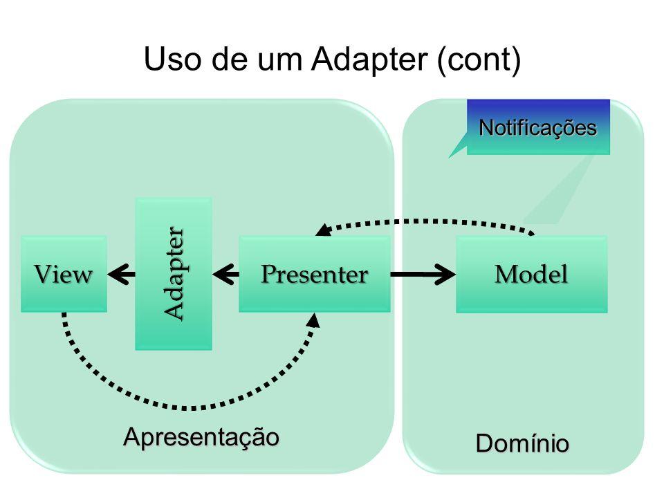 DomínioApresentação ModelViewPresenter Notificações Adapter Uso de um Adapter (cont)