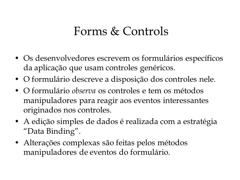 Forms & Controls Os desenvolvedores escrevem os formulários específicos da aplicação que usam controles genéricos. O formulário descreve a disposição