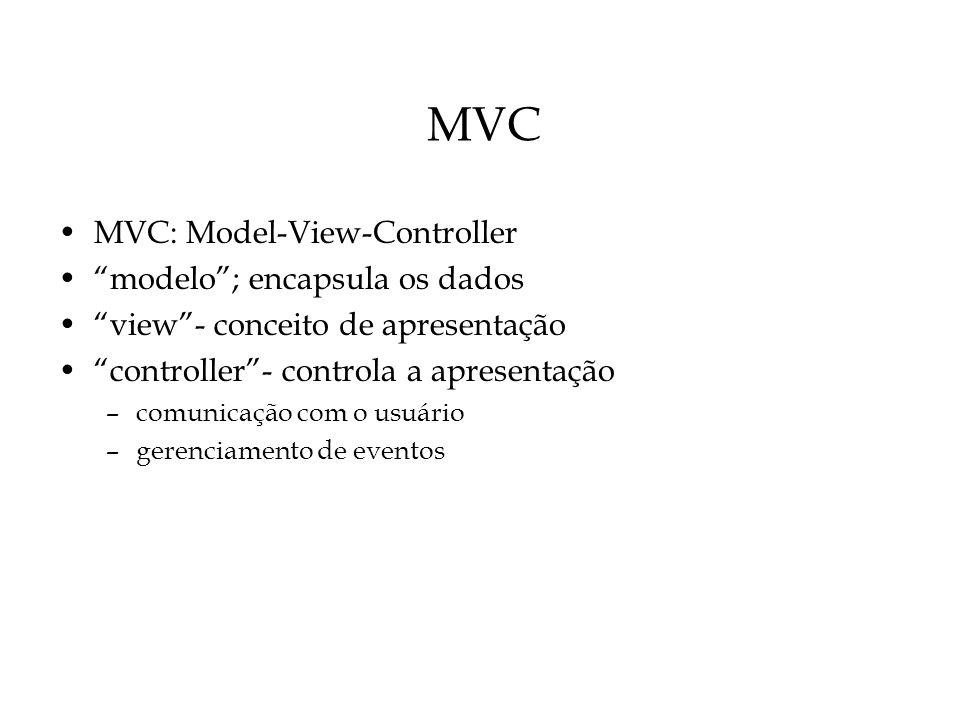 MVC MVC: Model-View-Controller modelo; encapsula os dados view- conceito de apresentação controller- controla a apresentação –comunicação com o usuári