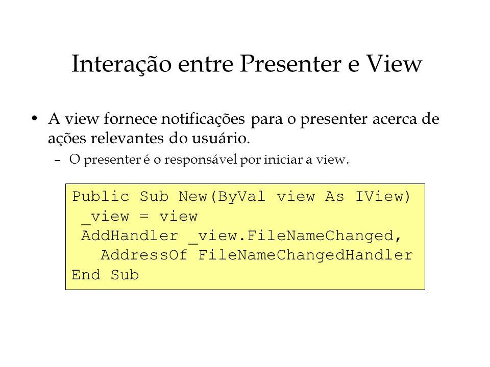 Interação entre Presenter e View A view fornece notificações para o presenter acerca de ações relevantes do usuário. –O presenter é o responsável por