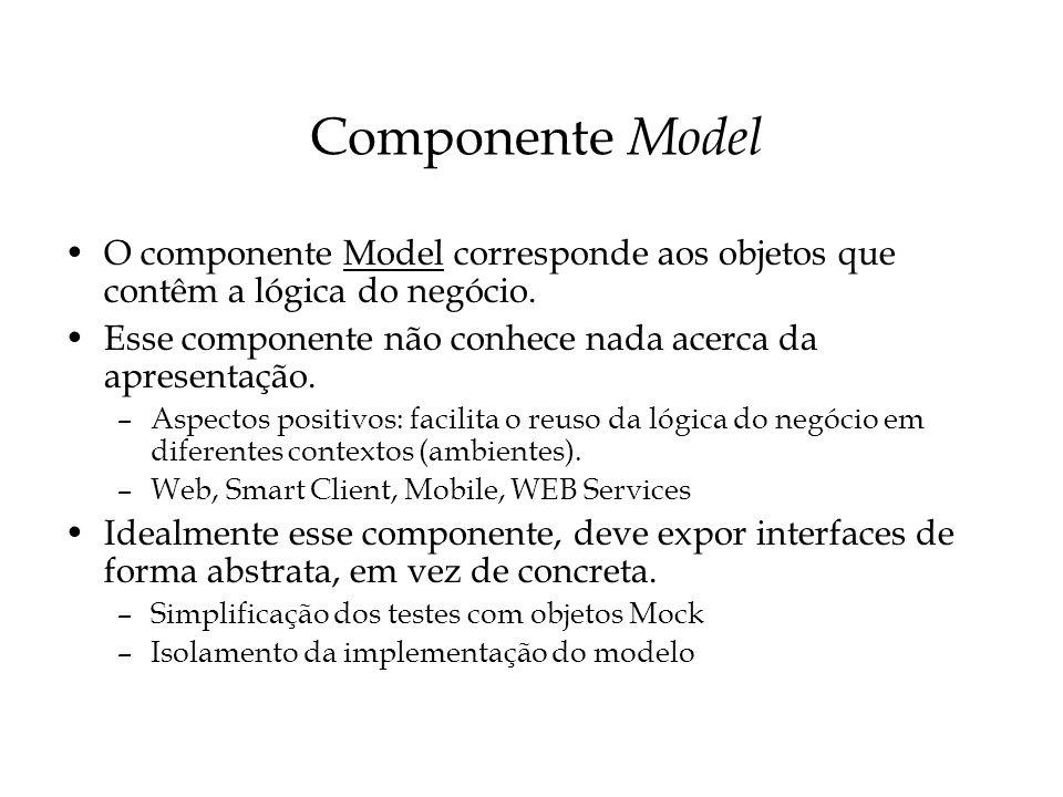 Componente Model O componente Model corresponde aos objetos que contêm a lógica do negócio. Esse componente não conhece nada acerca da apresentação. –